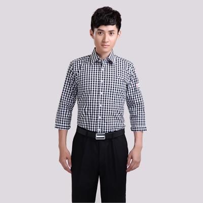 黑白纯棉长袖格子衬衣