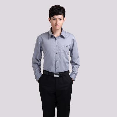 物业定制深灰长袖纯棉衬衫