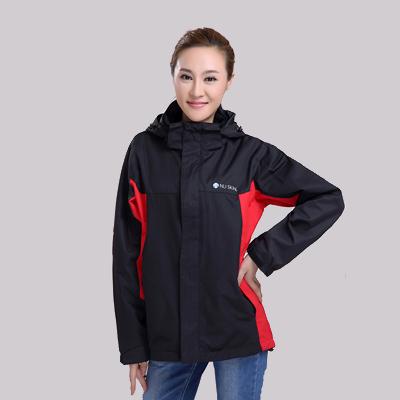 黑红双色防寒服女式冲锋衣