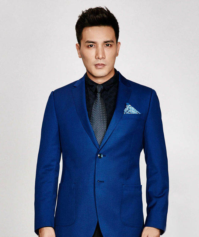 秋季新品男士含羊毛时尚休闲蓝色单西服
