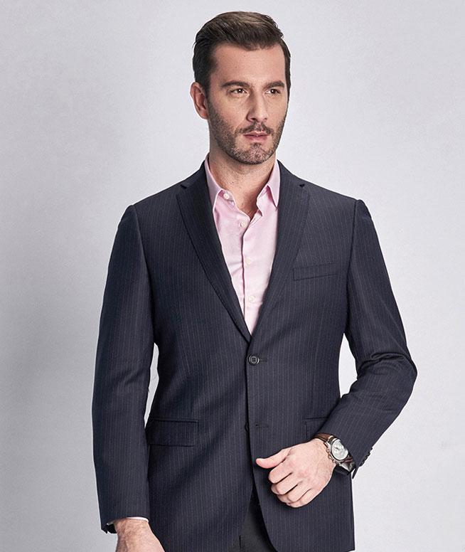 秋季新品男士含羊毛条纹商务深蓝色单西服